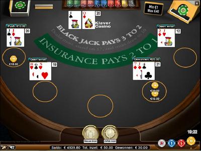 blackjack pro tafel